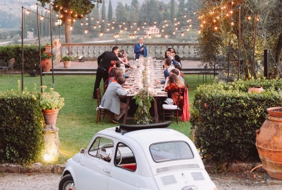 Intimate outdoor wedding reception in Tuscany, Italy